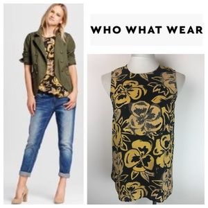 🆕 Who What Wear Gold Black Floral Blouse Cami